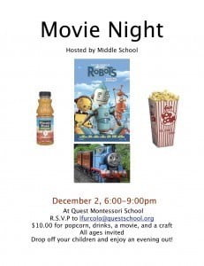 Middle School Movie Night Flier 11-2011