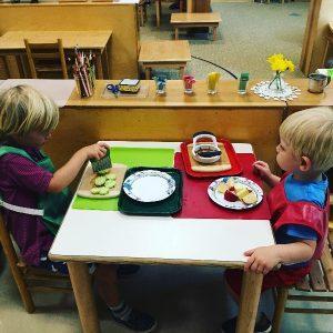 Montessori classroom where children are independent.