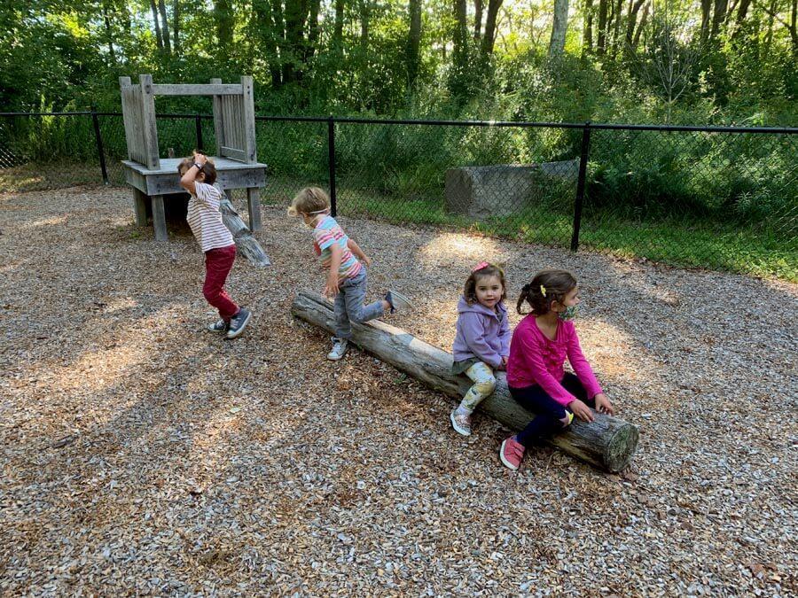 1- Children on log - Private-School-RI-Montessori