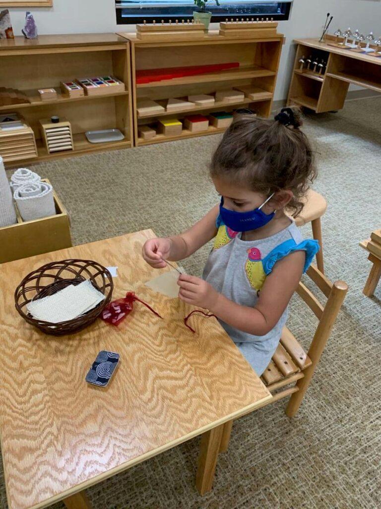 Needle sewing Private-School-RI-Montessori