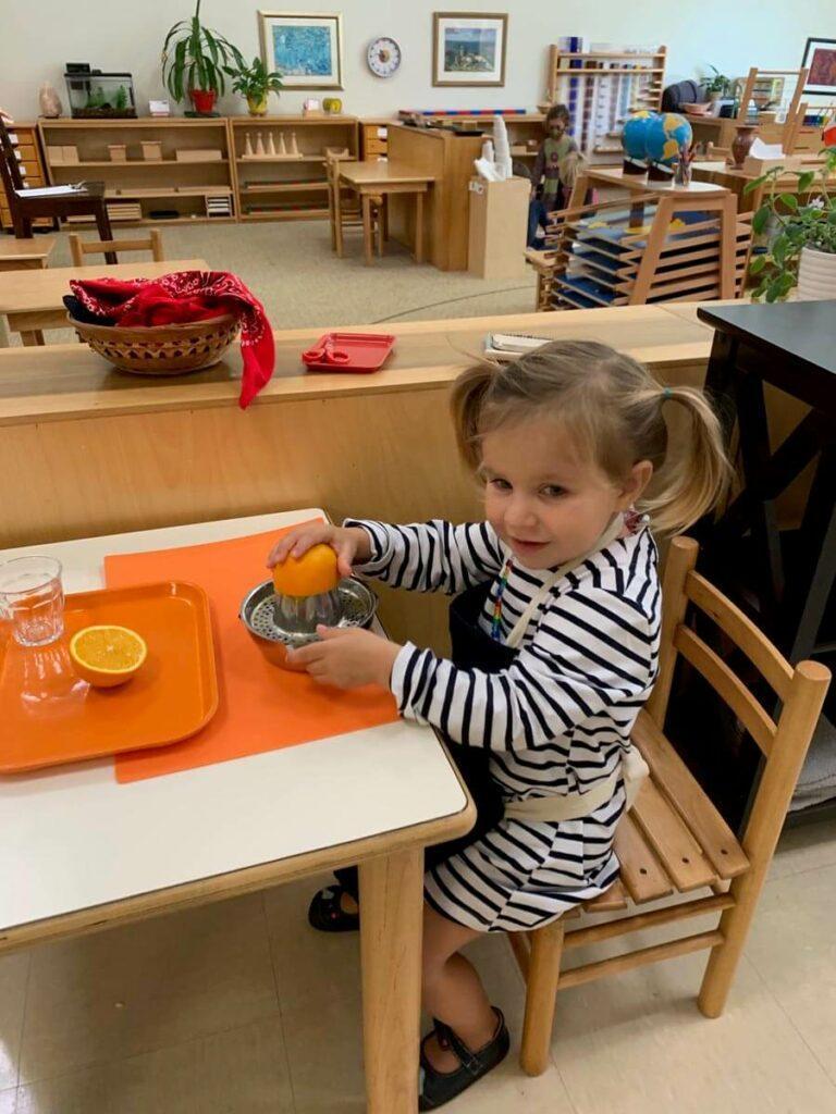 Orange juicing Private-School-RI-Montessori